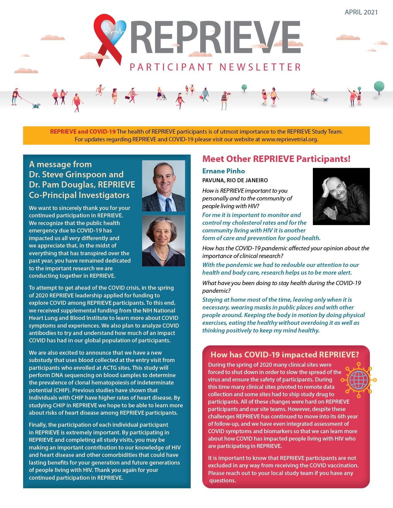 REPRIEVE Participant Newsletter 2021 ENGLISH FRONT
